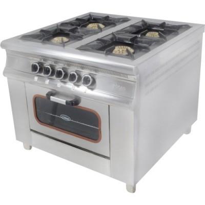 Плита 4-х конфорочная с духовым шкафом и газовым контроллером МО15-4 (40х40)