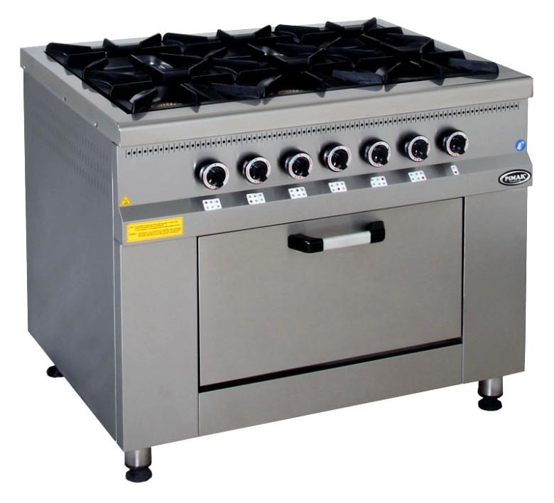 Плита 6-ти конфорочная с духовым шкафом и газовым контроллером МО15-6(40х40)