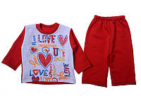 Костюм (кофта, штаны) для ребёнка/девочка 70% хлопок, 30% полиэстер Красный Trakya все размеры  12 мес (80 см)