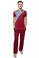 Пижама Мужской 92% хлопок, 8% лайкра бордовый Chiser все размеры  M
