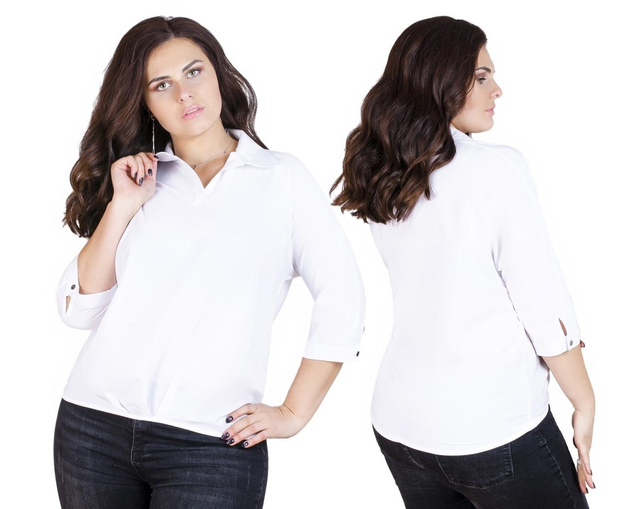 Белая однотонная рубашка 52-56