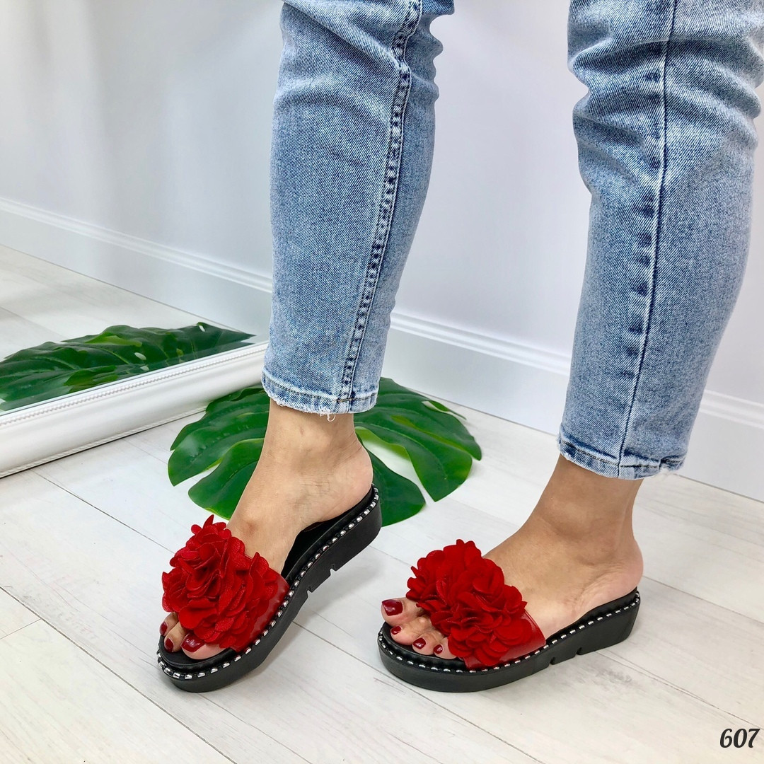 Только на 23 см!!! Шлепанцы женские красные с декором эко-кожа+ текстиль
