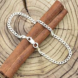 """Серебряный браслет """"Панцирный скруглённый"""", длина 16 см, ширина 2.5 мм, вес серебра 2.1 г"""