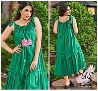 Яркое батальное летнее  женское платье на бретельках . 3 цвета!, фото 1