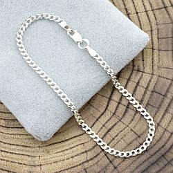 """Серебряный браслет """"Панцирный скруглённый"""", длина 17 см, ширина 2.5 мм, вес серебра 2.2 г"""