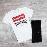Продается ТОЛЬКО футболка мужская Supreme хлопковая качественная на каждый день с принтом белая, ТОП-реплика