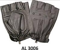 Перчатки без пальцев для водителей из овечьей кожи на молнии
