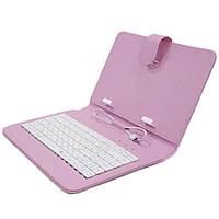 "☝Чехол Lesko 7"" Pink с клавиатурой microUSB для Android-планшетов электронных книг быстрый набор текста"