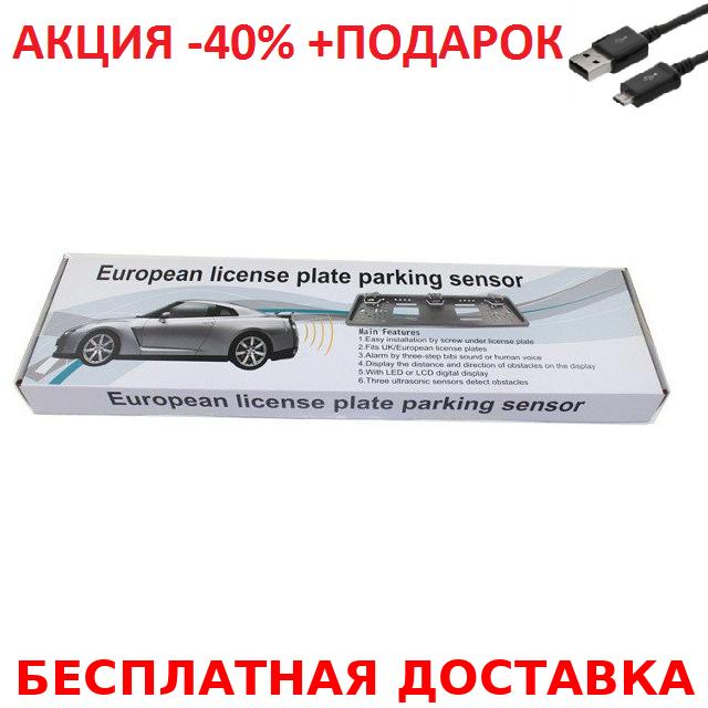Универсальная рамка для номера с двумя датчиками парктроника Silver Original size+ USB шнур
