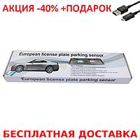 Универсальная рамка для номера с двумя датчиками парктроника Silver Original size+ USB шнур, фото 1