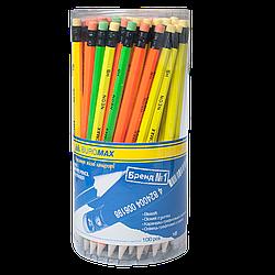 Олівець графітовий NEON НВ, неоновий, з гумкою, туба (BM8520)
