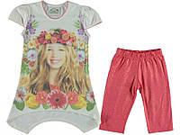 Костюм (футболка, капри) для ребёнка/девочка 75% вискоза, 20% хлопок, 5% эластан слоновой кости (футболка), коралловый (лосины) Mali Kon все размеры