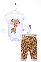 Костюм (боди, штаны) для ребёнка/мальчик 100% хлопок молочный Panduf все размеры  3-6 мес (62-68 см)
