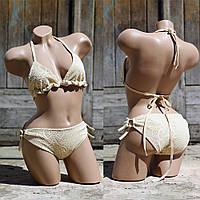 Стильный вязаный купальник на завязках, фото 1