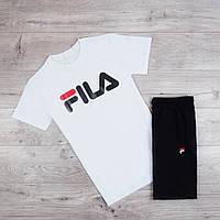 Продается ТОЛЬКО  мужская футболка Fila хлопковая стильная качественная фила с принтом (белая), ТОП-реплика