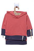 Кофта для ребёнка/девочка 100% хлопок терракотовый MOI NOI все размеры  12-18 мес (80-86 см)