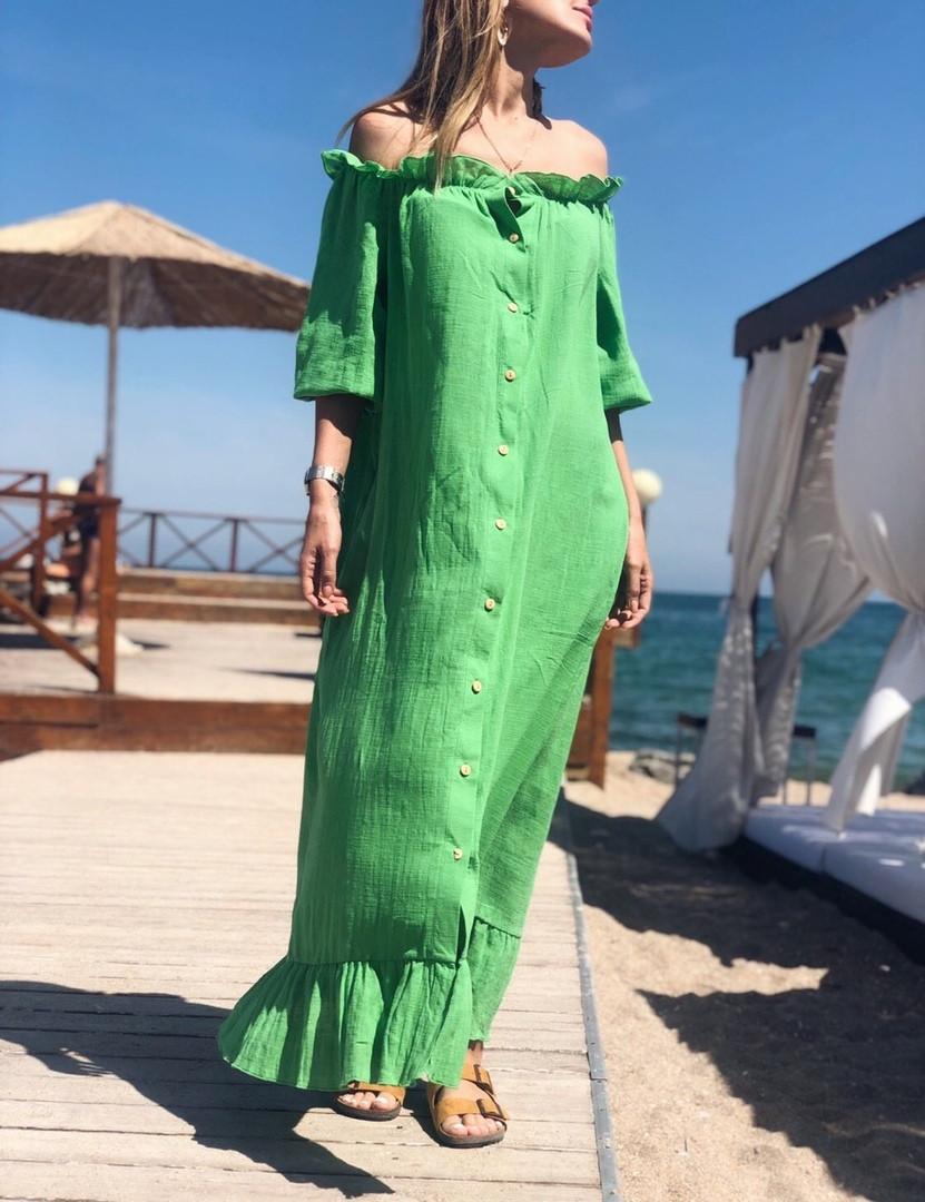 Женское льняное платье-рубашка с открытыми плечами SM, LXL