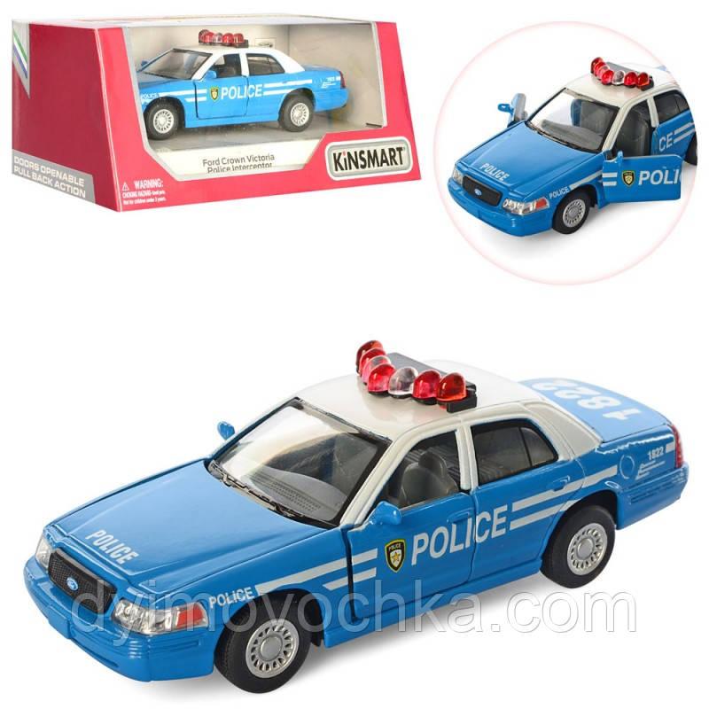 Машинка KT 5342 AW металл, инерционная, полиция12см,открыв. двери,резин.колеса