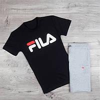 Хлопковая мужская футболка Fila модная  с надписью фила (черная), ТОП-реплика