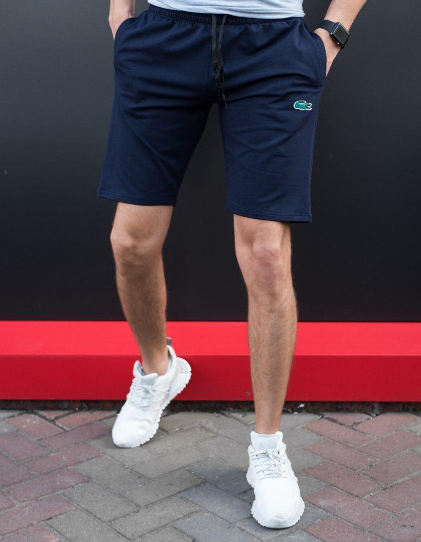 Мужские шорты Lacoste на лето качественные из двунитки в синем цвете, ТОП-реплика