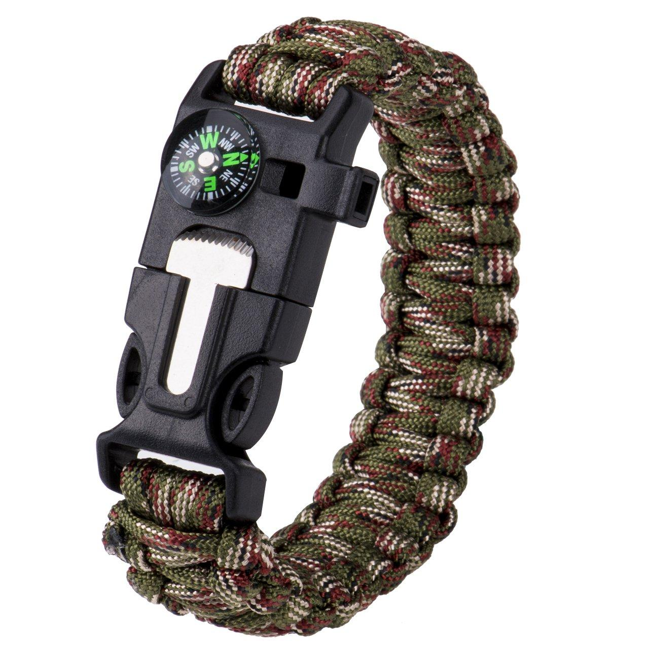 Браслет выживания Survial Paracord тактический green camouflage компас, огниво, свисток, шнур 4 метра