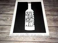 Копилка для винных пробок Drink Wine 36x27х5 см Черно-белая, фото 2