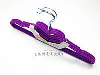 Плечики вешалки флокированные (бархатные, велюровые) фиолетового цвета сердце в упаковке 3 штуки