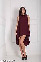 Легкое асимметричное платье свободного кроя Feder XS, Bordo