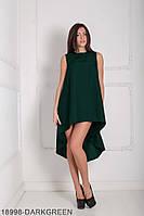 Легкое асимметричное платье свободного кроя Feder XS, Darkgreen