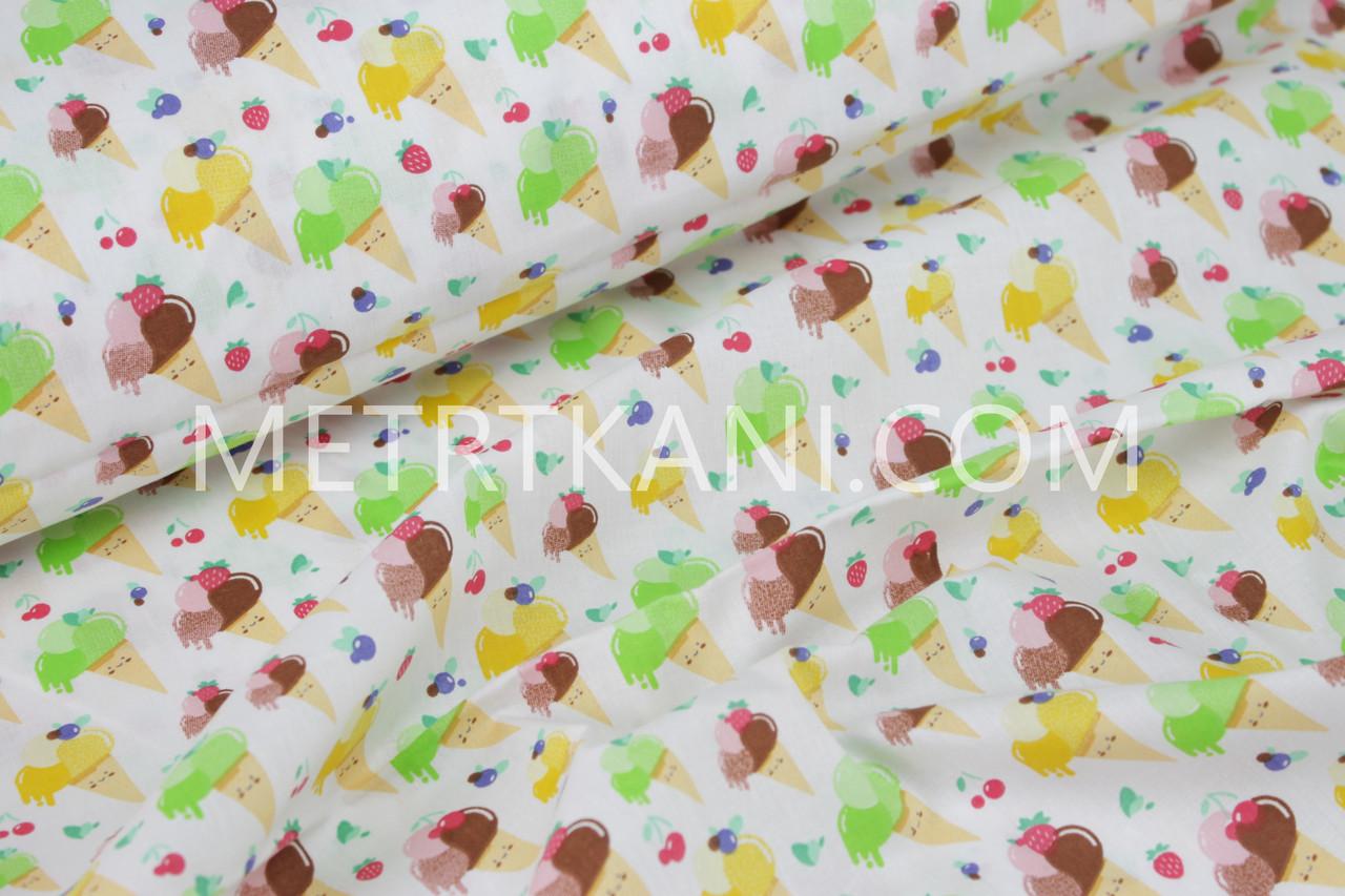 Хлопковая ткань мороженое с ягодами №809