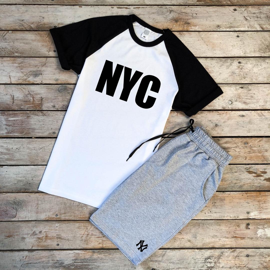 Мужская футболка бело-черная NYC