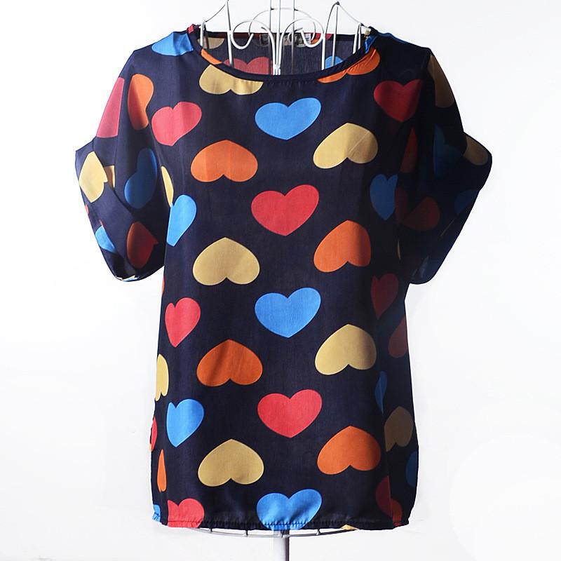Блуза женская с короткими рукавами / Футболка шифоновая с сердечками синяя 46