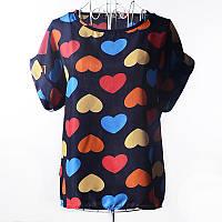 Блуза женская с короткими рукавами / Футболка шифоновая с сердечками синяя