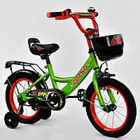 """Двухколесный детский велосипед зеленый ручной ручной тормоз звоночек Corso 14"""" деткам 3-5 лет"""