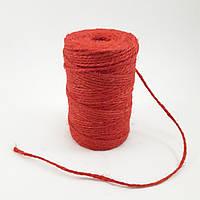 Канат джутовый декоративный красный, 2 мм, 100 гр, фото 1