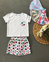 Дитячий літній костюм шорти і футболка для дівчат