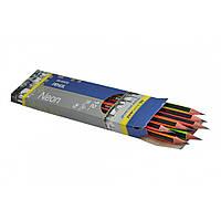 Карандаш графитовый NEON НВ, черно-неоновый, с резинкой, карт. коробка