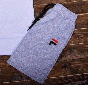 Хлопковые мужские шорты Fila удобные практичные с надписью фила (серые), ТОП-реплика