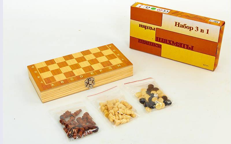 Шахматы, шашки, нарды 3 в 1 деревянные (фигуры-дерево, р-р доски 24x24см)