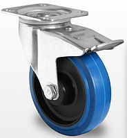 Колесо поворотное с тормозом с роликовым подшипником 125 мм, полиамид/эластичная резина (Германия)
