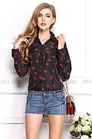 Блузка женская / рубашка с губками черная