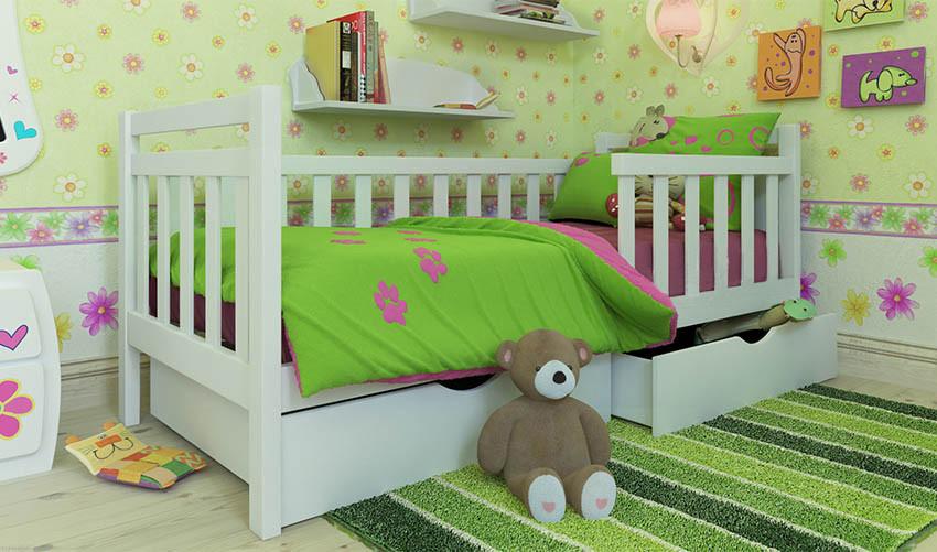 Детская деревянная кровать (из ольхи) Анет Экстра с бортиком (все размеры)