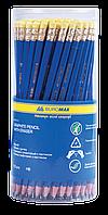Карандаш графитовый НВ JOBMAX, пластиковый синий с резинкой в тубе
