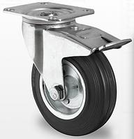 Колесо поворот. с тормоз. с ролик. подшипником 100 мм, 75 кг, сталь/черная резина (Германия)