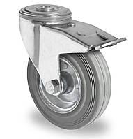 Колесо поворотное с тормозом с роликовым подшипником 125 мм, сталь/серая резина (Германия)