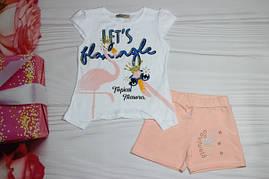 Комплект для девочки Футболка + шорты Турция от 1 до 2-х лет
