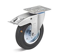 Колесо поворотное с тормозом 200 мм, сталь/черная резина, 205 кг (Германия)
