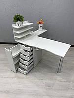 Угловой маникюрный стол с дополнительной столешницей и ящиком карго V430