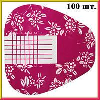 Форма для Ногтей Двойная Толщина Прямая Розовые Цветы, 100 шт