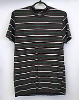 """Мужская футболка """"Samo"""". Серая в полоску. Хлопок. Узбекистан. №5001."""